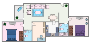 Colored 2 Bedroom House Plan