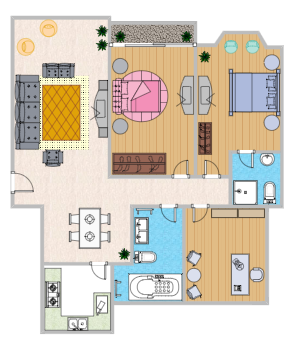 Colored Home Plan