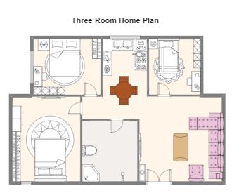 Three Room Home Plan