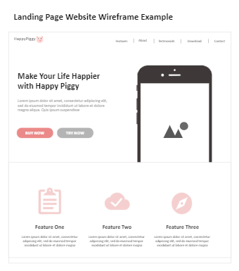 Landing Page Website Wireframe Example