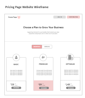 Pricing Page Website Wireframe
