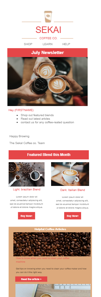 Ecommerce Newsletter Template Coffee Store
