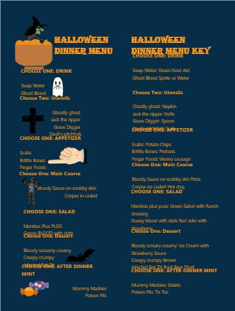 Halloween Party Food Menu
