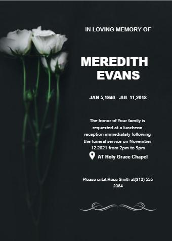Funeral Invitation Card