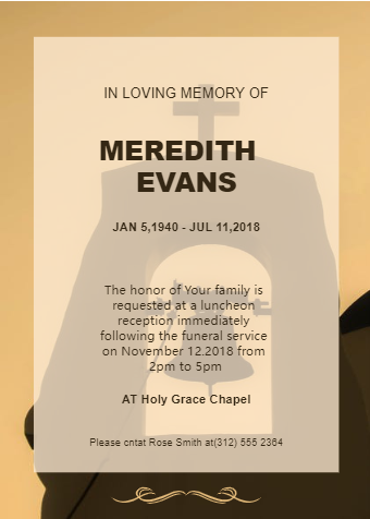 Church Background Funeral Invitation Card