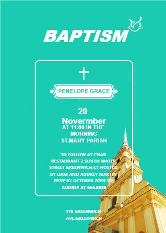 Church Baptism Invitation Card