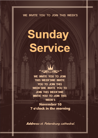 Church Sunday Service Invitation Card