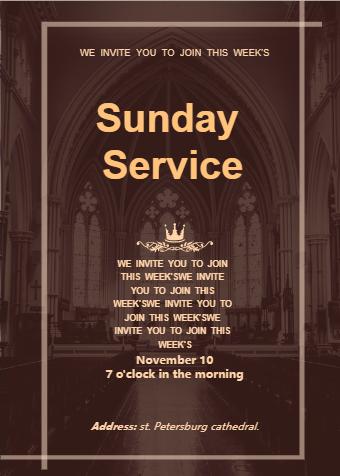 Church Sunday Service Invitation Card