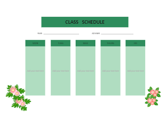 Green Style Class Schedule
