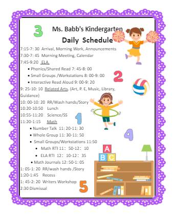 Kindergarten Class Schedule