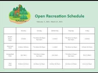 Open Recreation Schedule