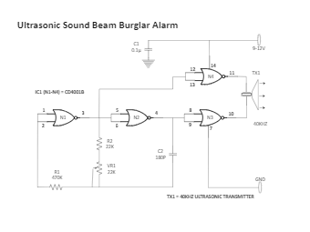 Ultrasonic Sound Beam Burglar Alarm