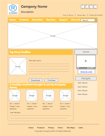 E-Commerce Website Design Wireframe