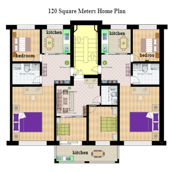 120 Square Meters Home Plan