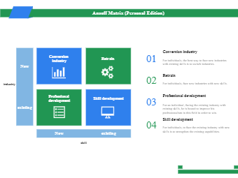 Ansoff Matrix (Personal Edition)