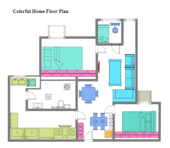 Colorful Home Floor Plan
