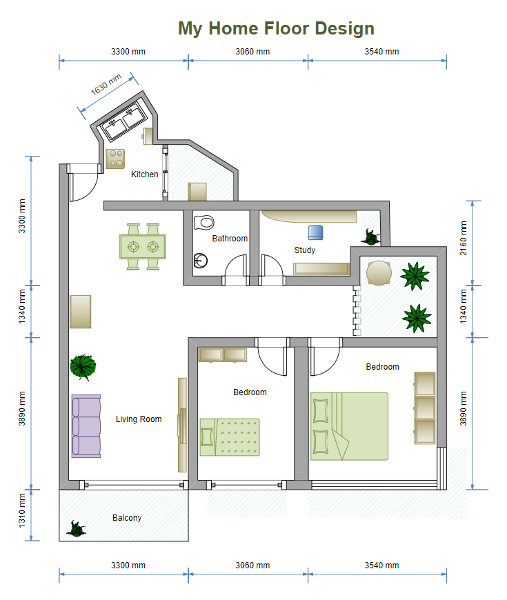 Floor Plan with 2 Bedrooms