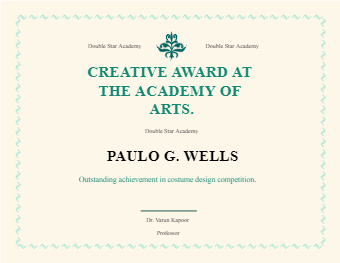 Academy Award Certificate