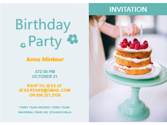 Cake Birthday Invitation