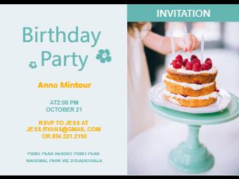 Cake Birthday Invitation