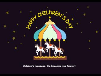 Carousel Children Day Card