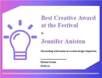 Creative Award Certificate