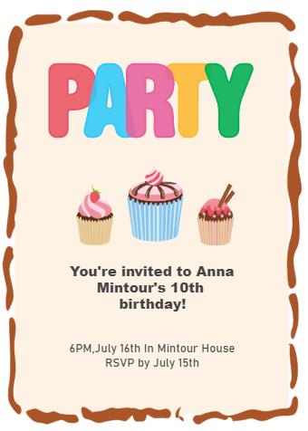 Cupcake Birthday Party Invitation