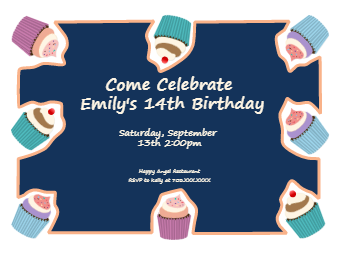 Cupcakes Birthday Invitation Card