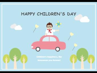 Children Day Card with Cute Boy