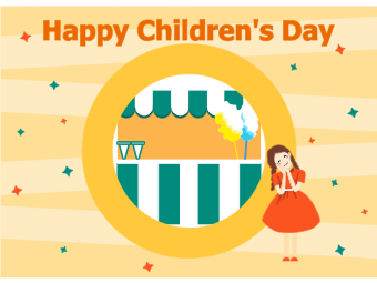 Children Day Card with Cute Girl