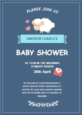Cute Sheep Baby Shower Invitation