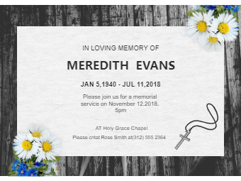 Funeral Invitation with Daisy