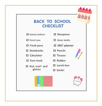 Back to School Checklist Example