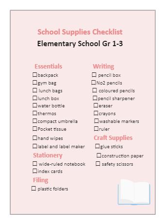 Elementary School Supplies Checklist