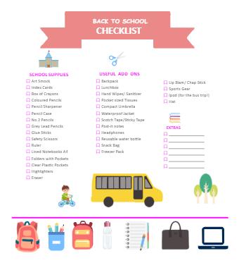 Primary School Student Checklist