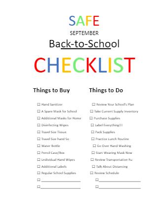 Safe September School Checklist