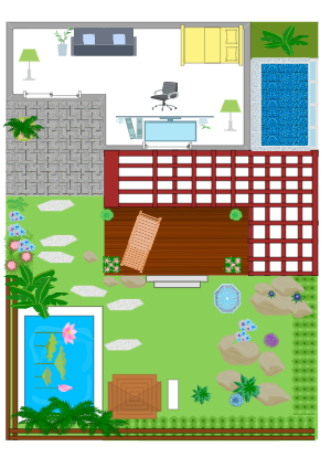 Lanscape design of garden and office