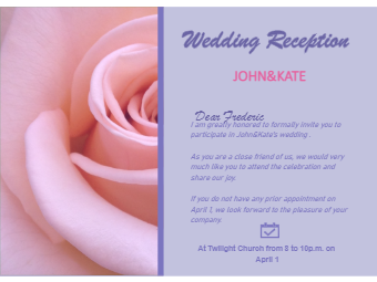 Rosy Wedding Invitation Card