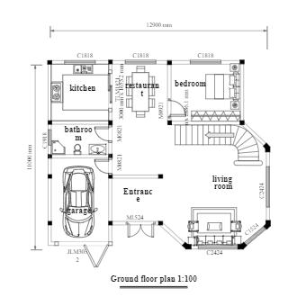 Two-Story Villa Floor Plan