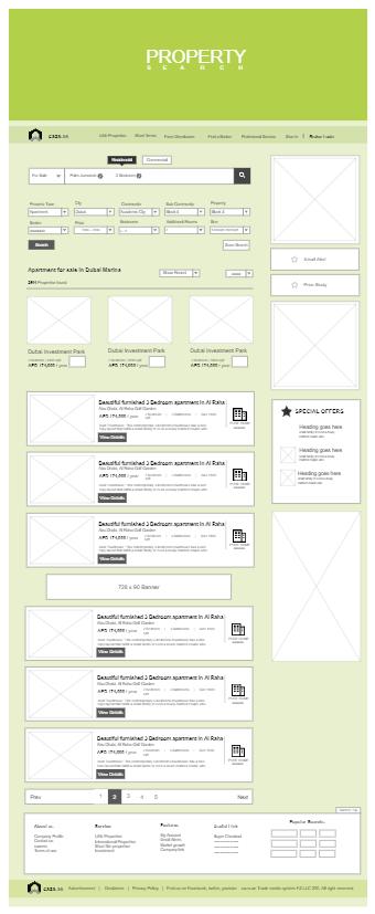 House Selection Page Wireframe