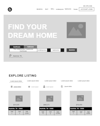 House Selling Website Wireframe