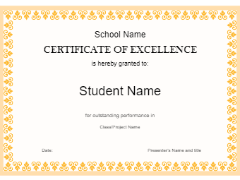 Student Excellence Award Certificate