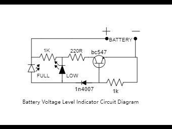 Battery Voltage Level Indicator Circuit Diagram