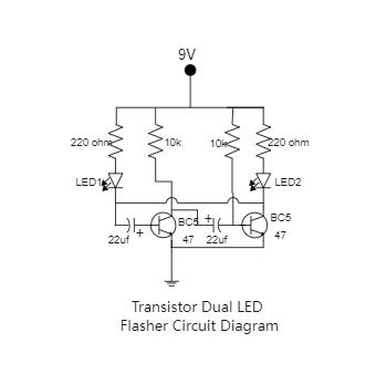 Transistor Dual LED Flasher Circuit Diagram