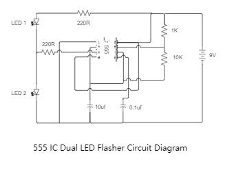 555 IC Dual LED Flasher Circuit Diagram