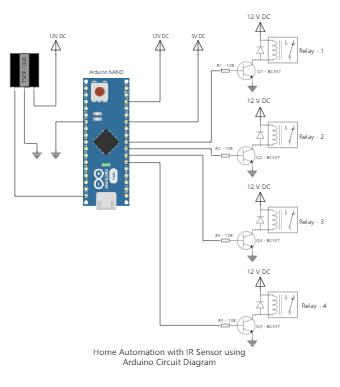 Home Automation with IR Sensor using Arduino Circuit Diagram
