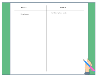 Pros and Cons T Char Graphic Organizer