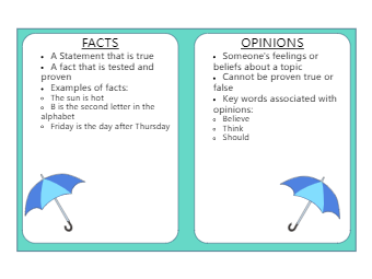 Facts and Opinions T Chart