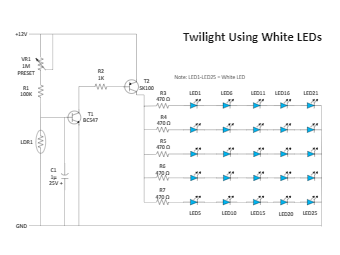 Twilight using white LEDs