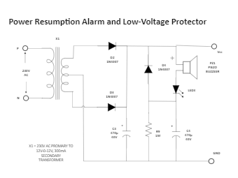 Power Resumption Alarm and Low-Voltage Protector